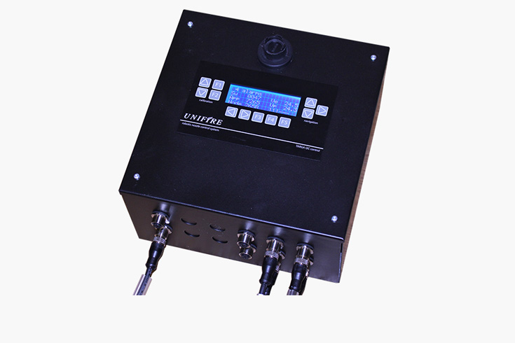Example of an advanced robotic nozzle electronics box (PLC) for controlling the robots' brushless BLDC motors and for hookup to other peripheral devices and systems. Image courtesy of Unifire AB.